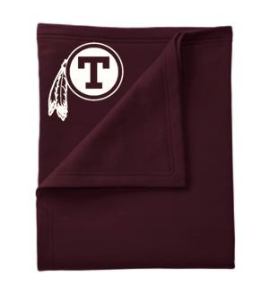 "(19) BP80 Embroidered Fleece Blanket ""T-Feather Logo"""